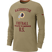 Nike Men's Salute to Service Washington Redskins Dri-FIT Beige Long Sleeve Shirt