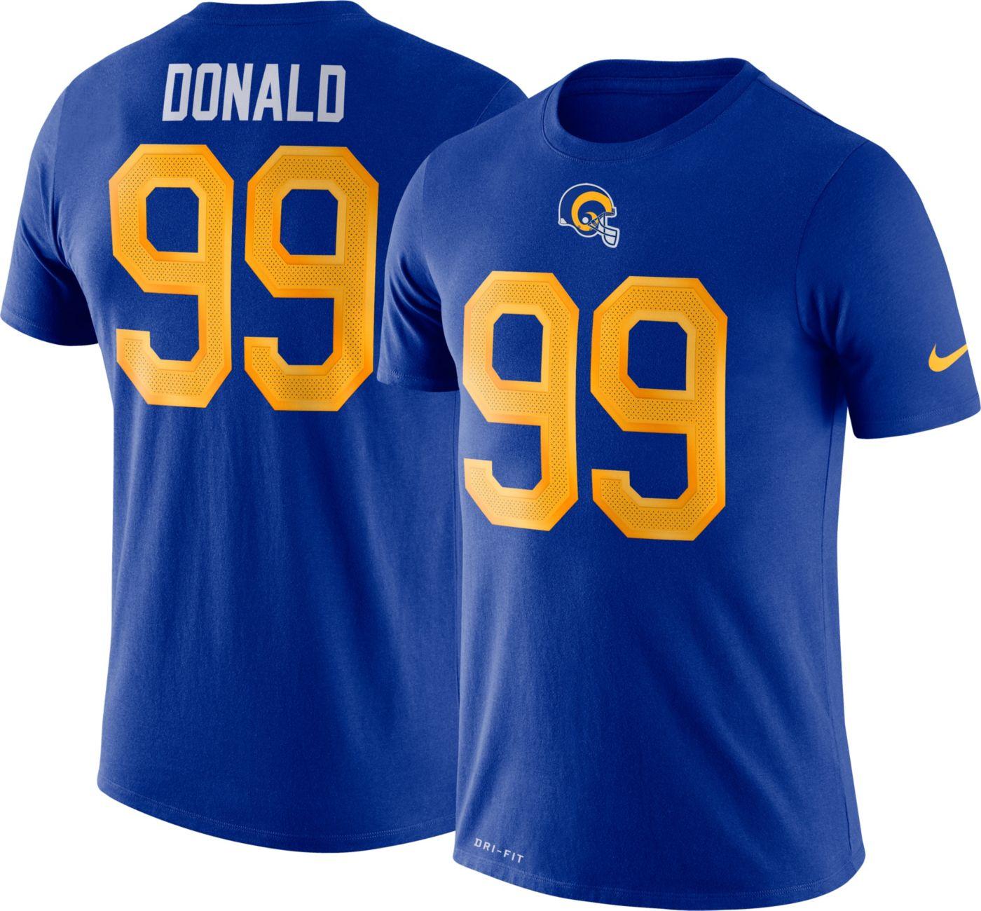 Nike Men's Los Angeles Rams Aaron Donald #99 Logo Royal T-Shirt