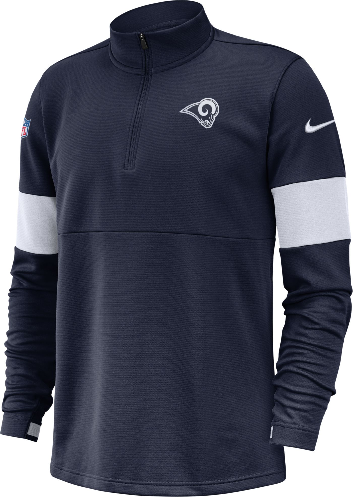 Nike Men's Los Angeles Rams Sideline Coach Performance Navy Half-Zip Pullover