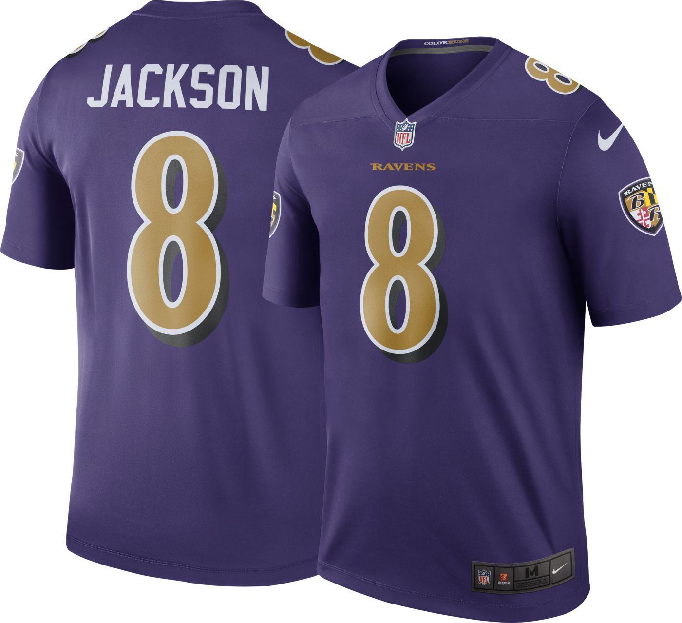 Nike Men's Color Rush Legend Purple Jersey Baltimore Ravens Lamar Jackson #8