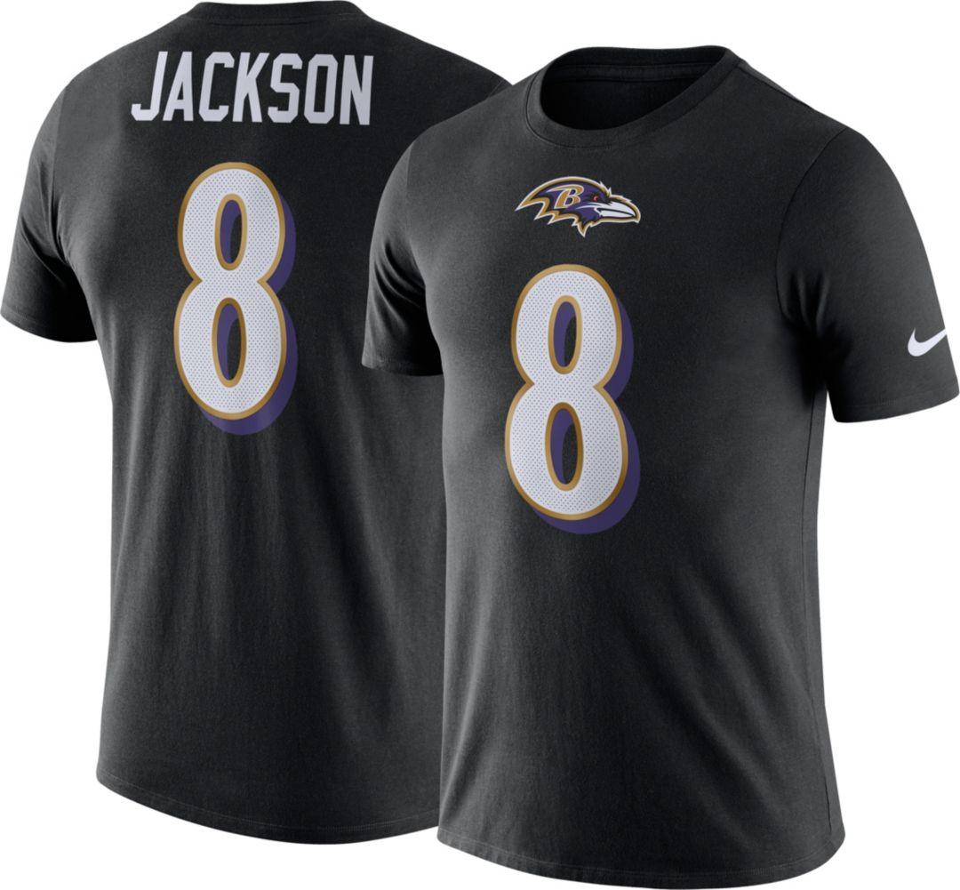 free shipping 5a5c3 9abd6 Nike Men's Baltimore Ravens Lamar Jackson #8 Logo Black T-Shirt