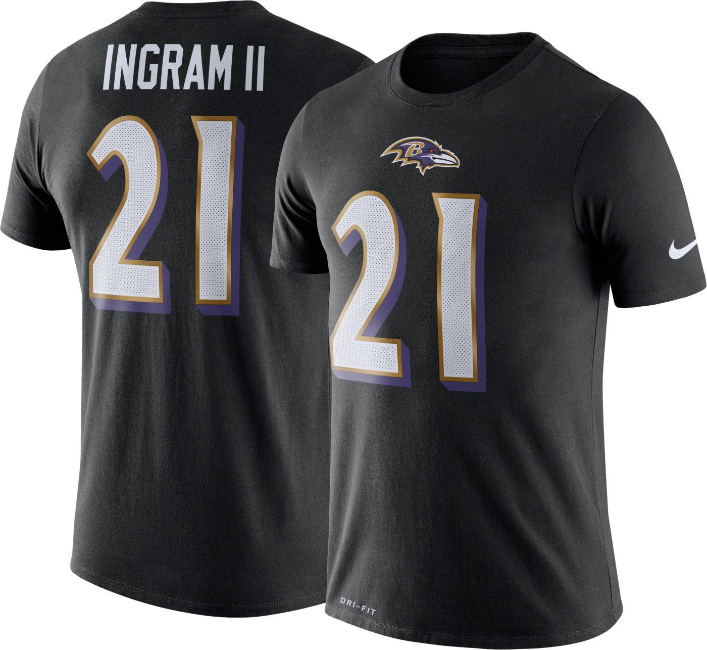 Nike Men's Baltimore Ravens Mark Ingram #21 Logo Black T-Shirt