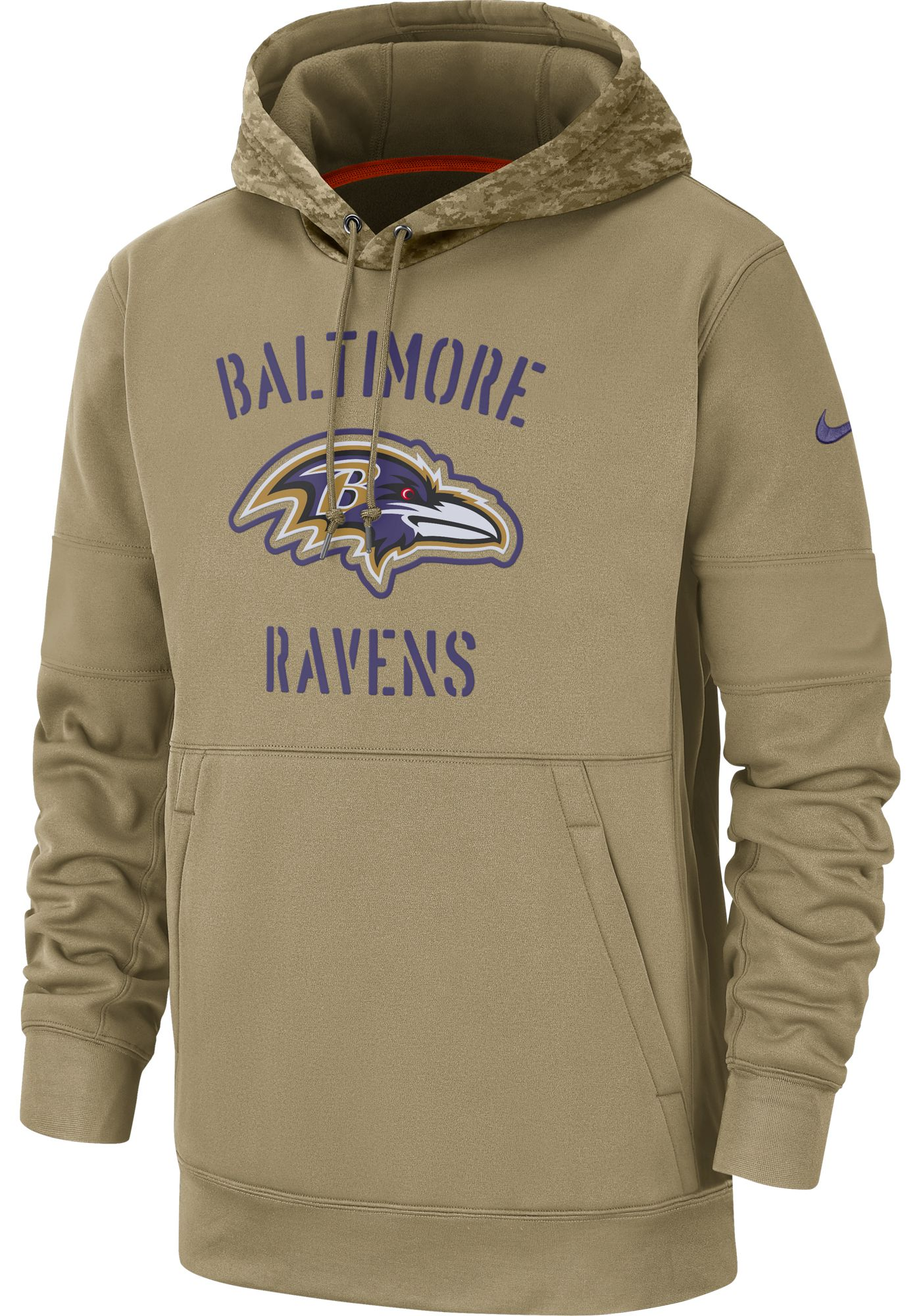 Nike Men's Salute to Service Baltimore Ravens Therma-FIT Beige Camo Hoodie