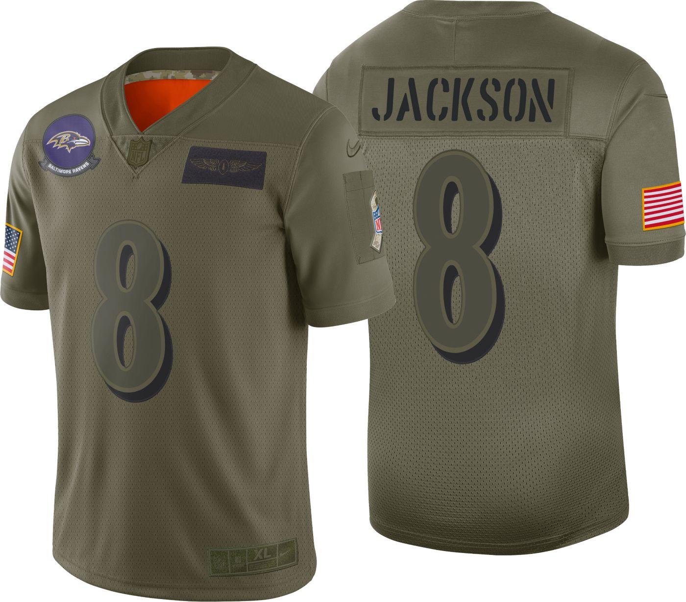 Nike Men's Salute to Service Baltimore Ravens Lamar Jackson #8 Olive Limited Jersey