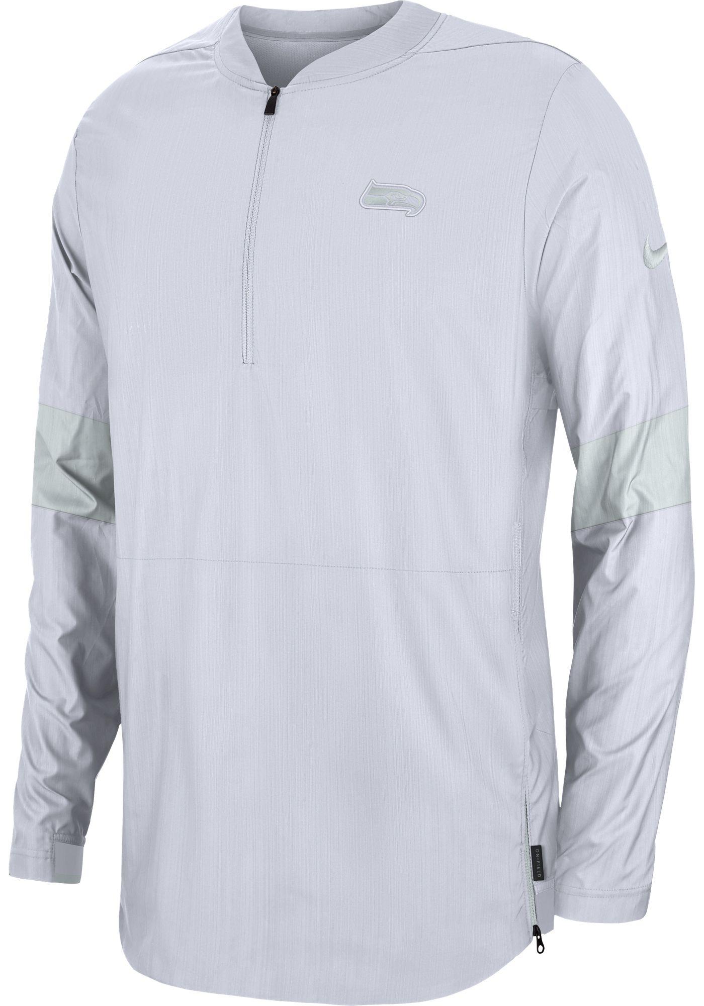 Nike Men's Seattle Seahawks Sideline Coach White Half-Zip Performance Jacket