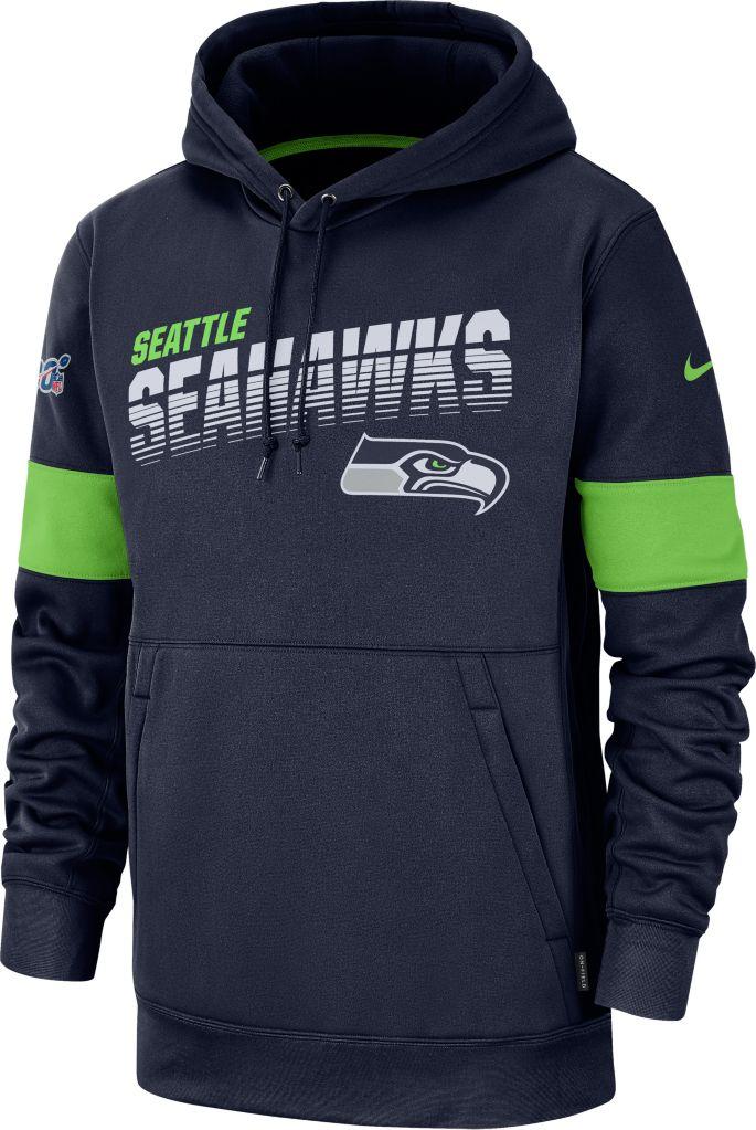 Nike Men's Seattle Seahawks 100th Sideline Therma FIT Navy Pullover Hoodie