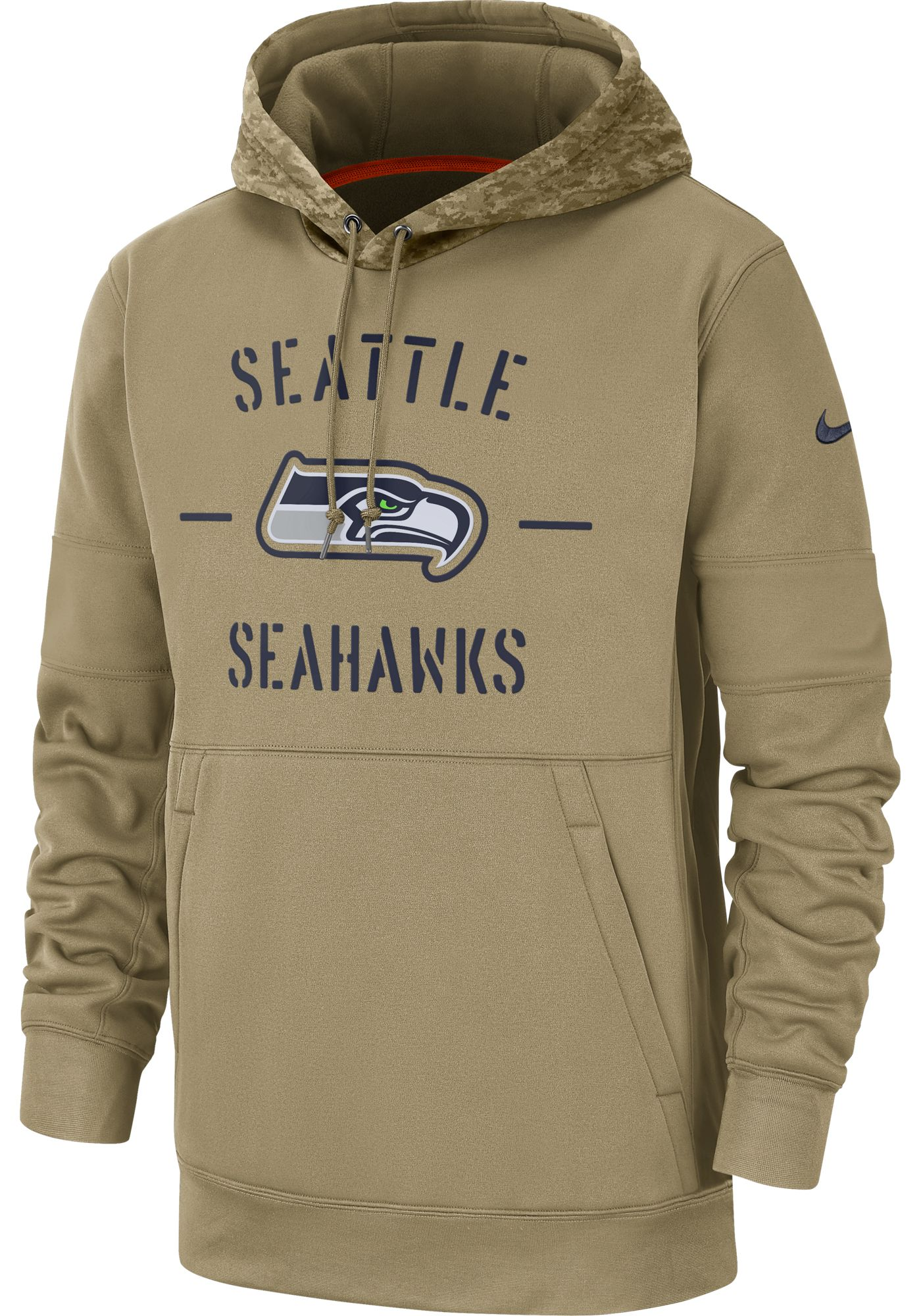 Nike Men's Salute to Service Seattle Seahawks Therma-FIT Beige Camo Hoodie