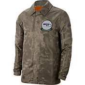 Nike Men's Salute to Service Seattle Seahawks Olive Lightweight Camo Jacket