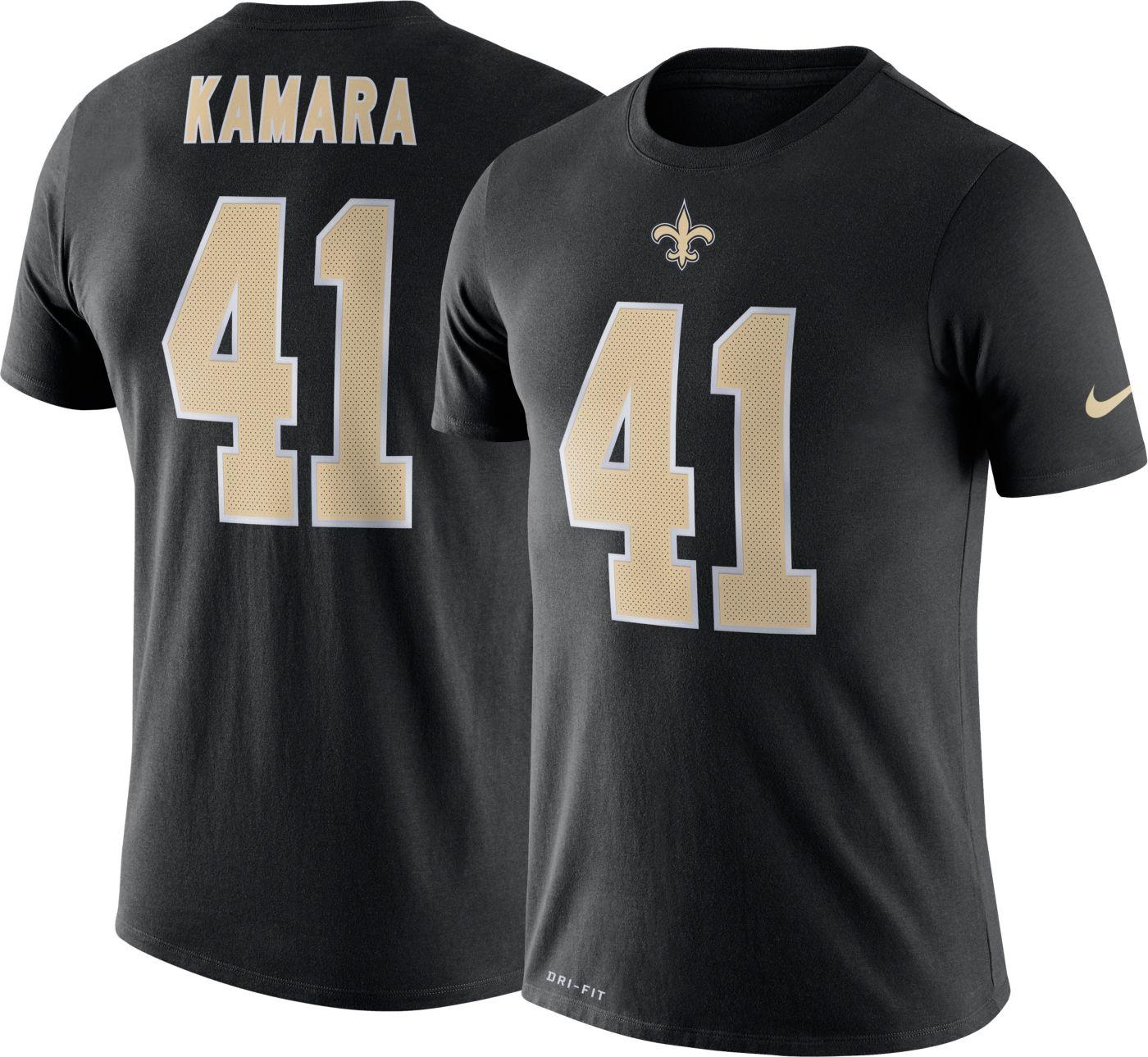 Nike Men's New Orleans Saints Alvin Kamara #41 Logo Black T-Shirt