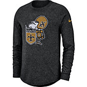 Nike Men's New Orleans Saints Marled Historic Performance Black Long Sleeve Shirt