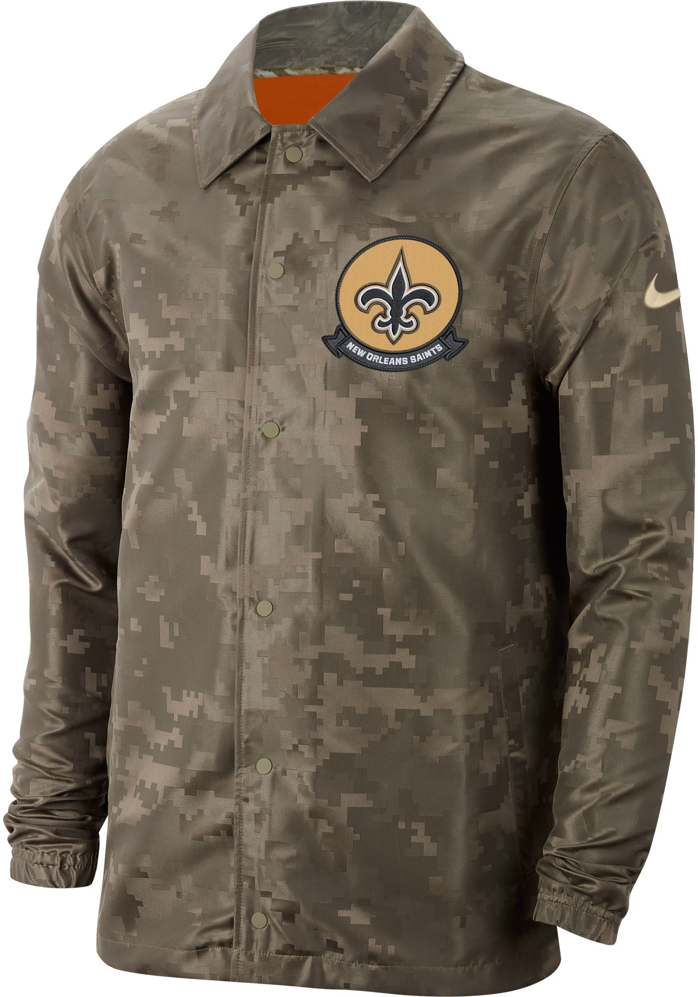Nike Men's Salute to Service New Orleans Saints Olive Lightweight Camo Jacket