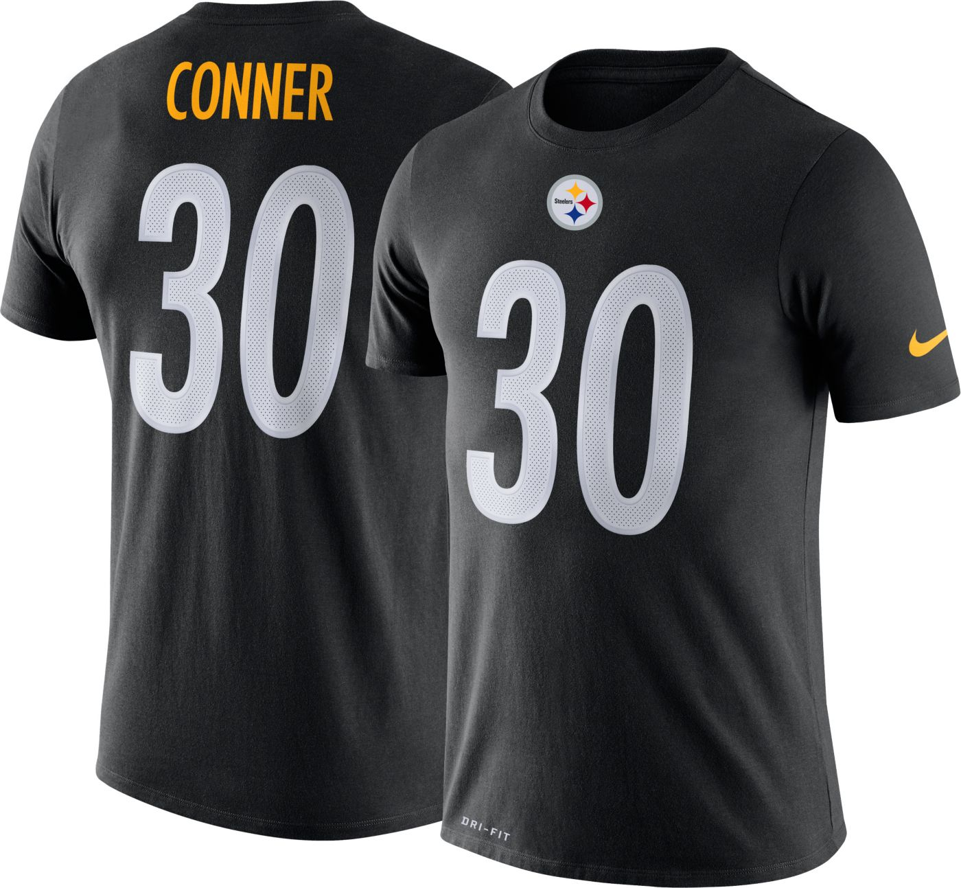 Nike Men's Pittsburgh Steelers James Conner #30 Logo Black T-Shirt