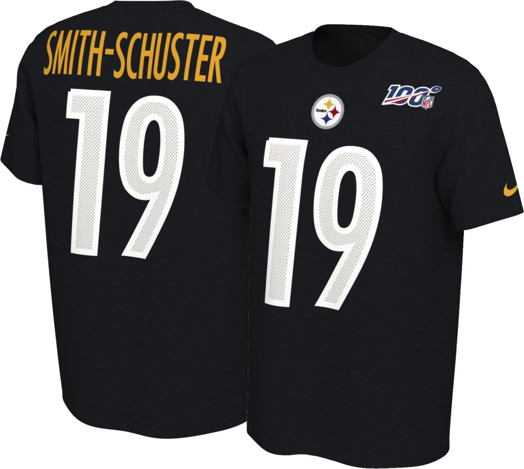 new style d58ee 446c3 Nike Men's Pittsburgh Steelers JuJu Smith-Schuster #19 100th Black T-Shirt