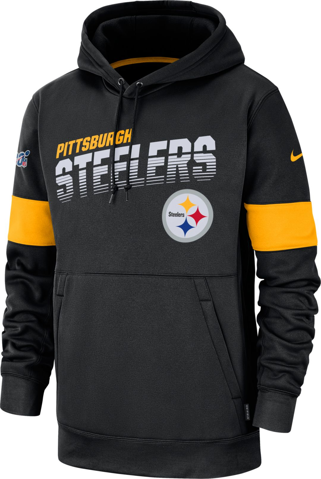 huge selection of c822f 0591f Nike Men's Pittsburgh Steelers 100th Sideline Therma-FIT Black Pullover  Hoodie