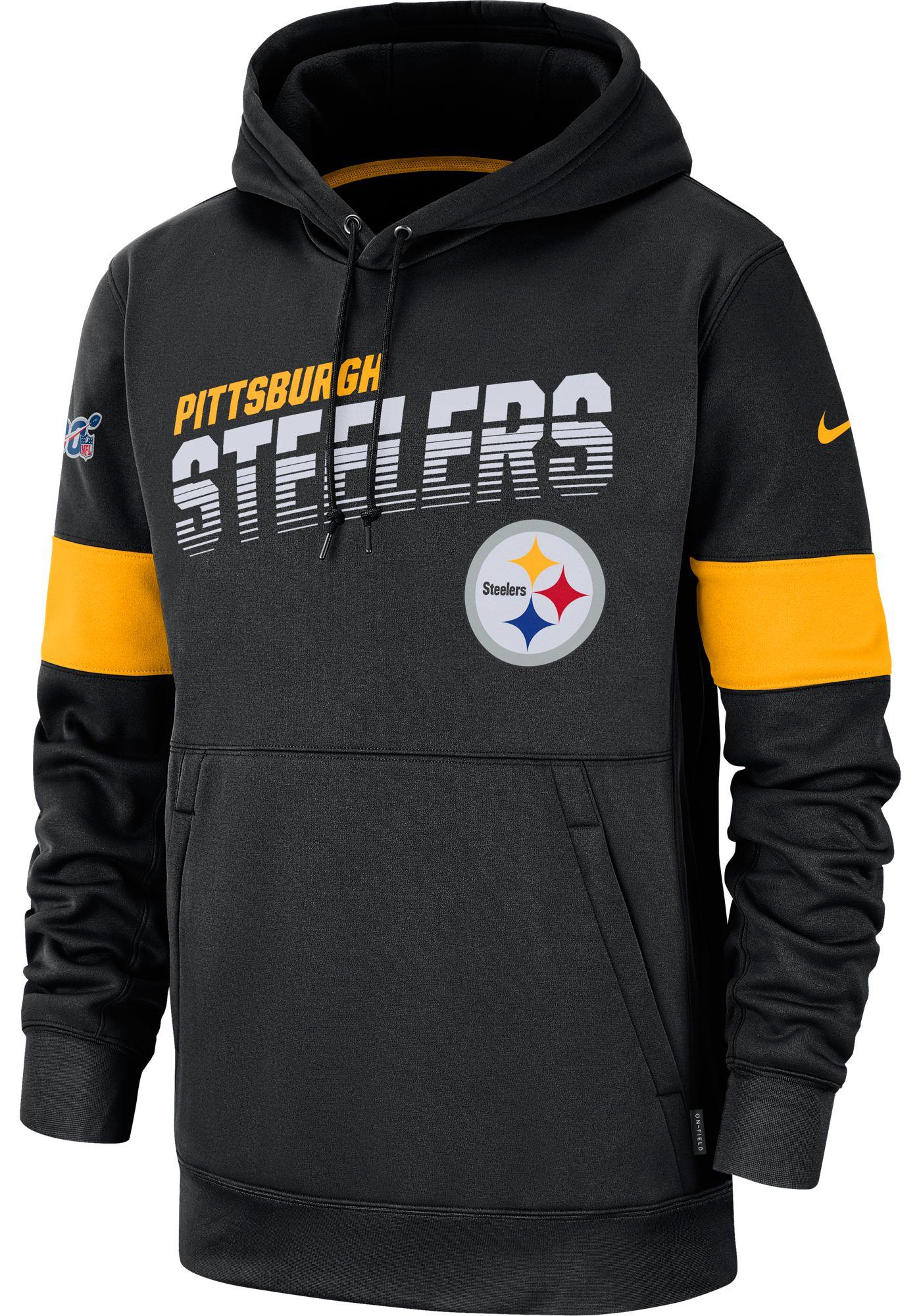 Nike Men's Pittsburgh Steelers 100th Sideline Therma-FIT Black Pullover Hoodie