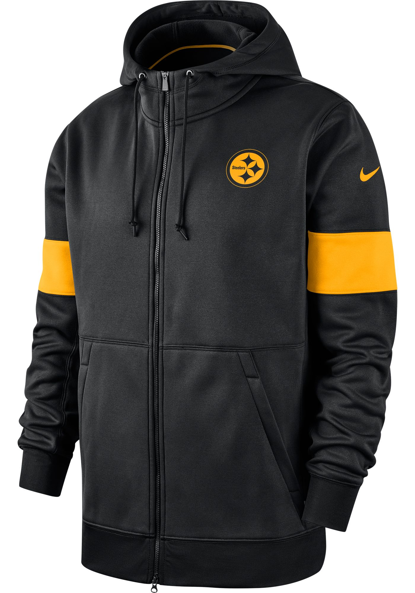 Nike Men's Pittsburgh Steelers Sideline Therma-FIT Black Full-Zip Hoodie