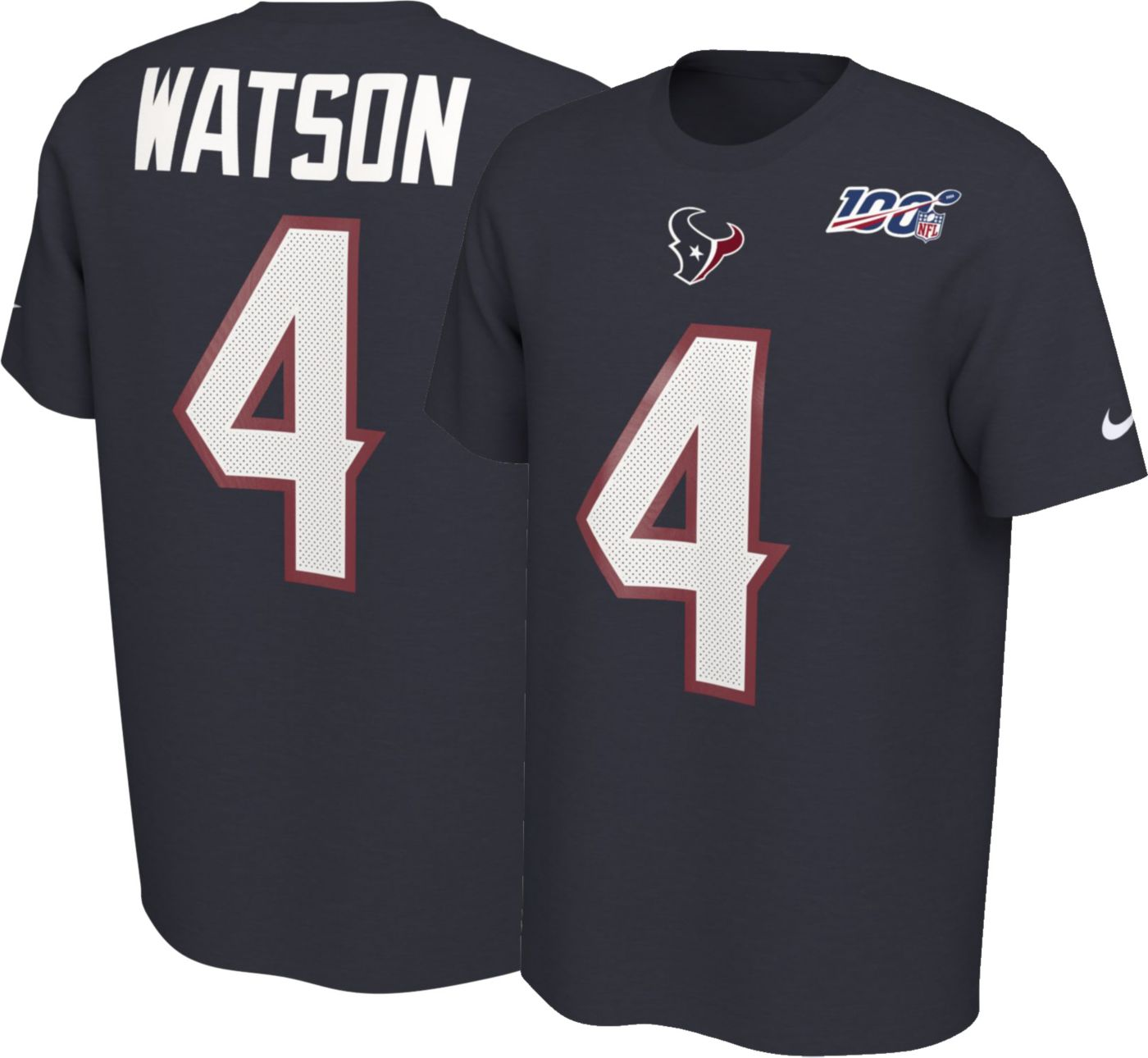 Nike Men's Houston Texans Deshaun Watson #4 100th Navy T-Shirt