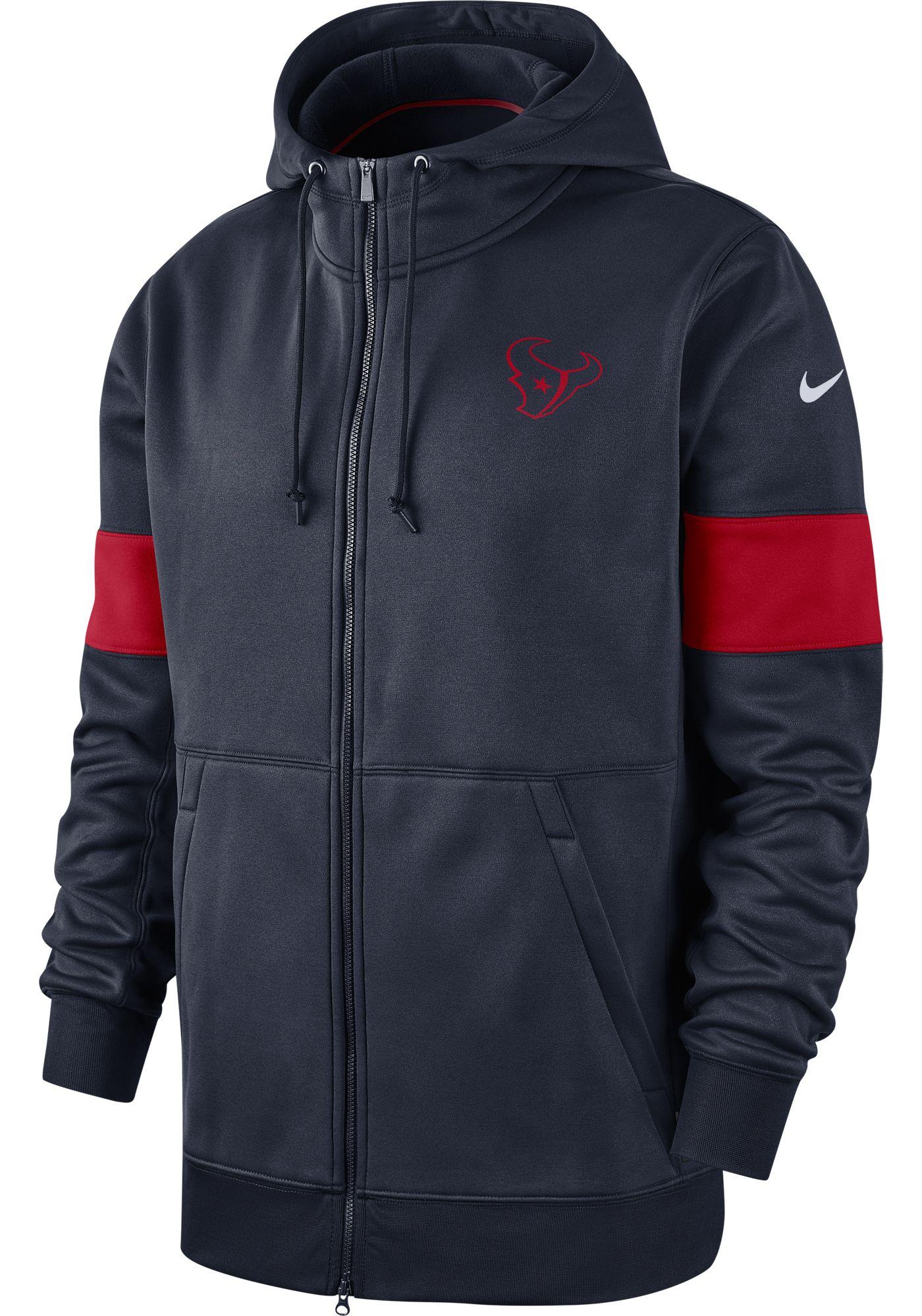 Nike Men's Houston Texans Sideline Therma-FIT Navy Full-Zip Hoodie