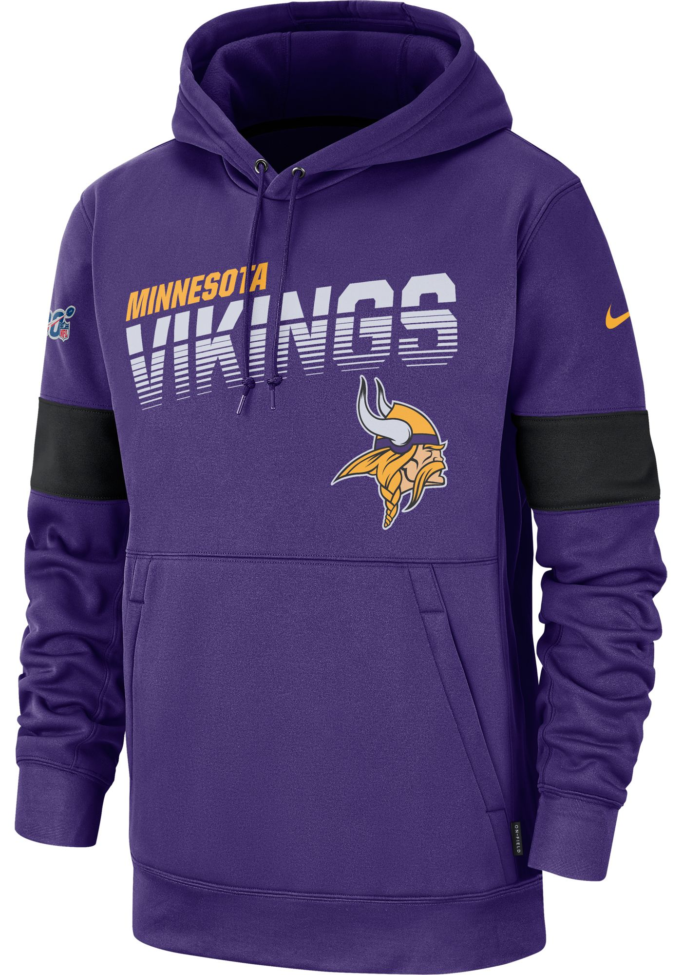 Nike Men's Minnesota Vikings 100th Sideline Therma-FIT Purple Pullover Hoodie