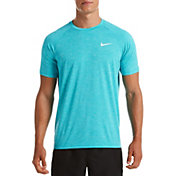 Nike Men's Heather Short Sleeve Hydro Rash Guard (Regular and Big & Tall)