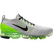 Nike Men's Air VaporMax Flyknit 3 Shoes in Gry/Elec Grn/Wht/Gry Fog