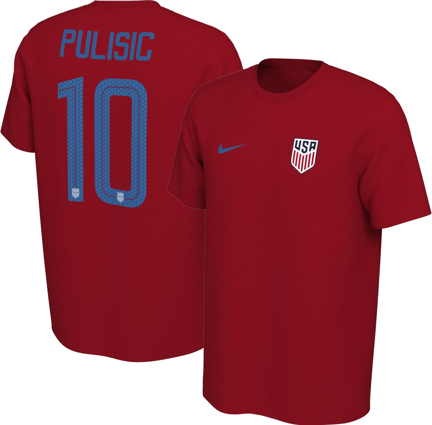 Nike Men's USA Soccer Christian Pulisic #10 Red Player T-Shirt
