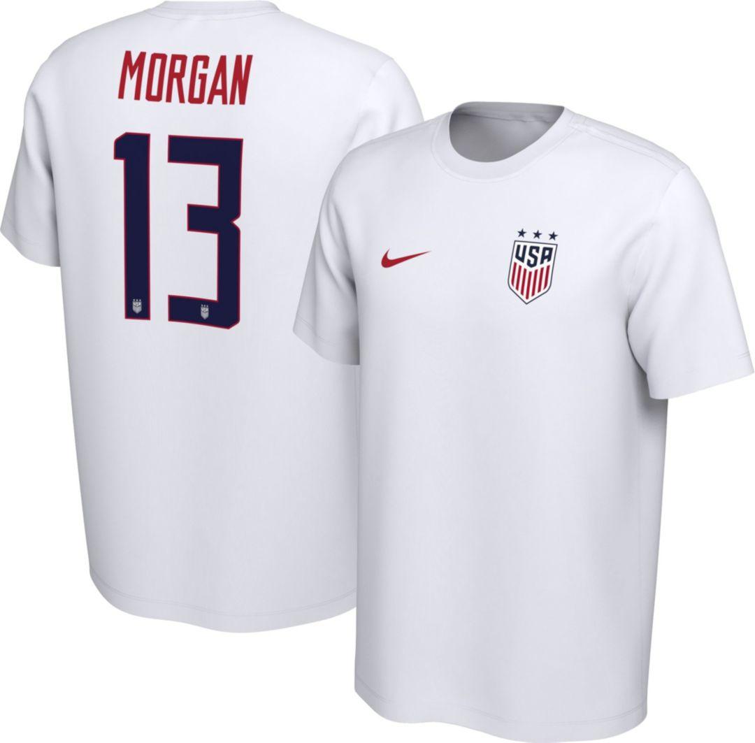 buy popular 957f7 9c992 Nike Men's USA Soccer Alex Morgan #13 White Player T-Shirt