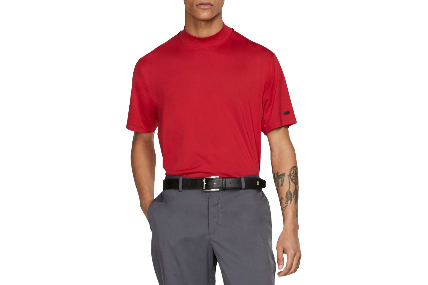 Nike Men's Tiger Woods Red Mock Neck Golf Polo