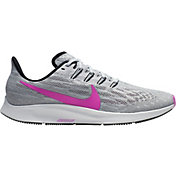 Nike Men's Air Zoom Pegasus 36 Running Shoes in Pure Platinum/Hyper Violet