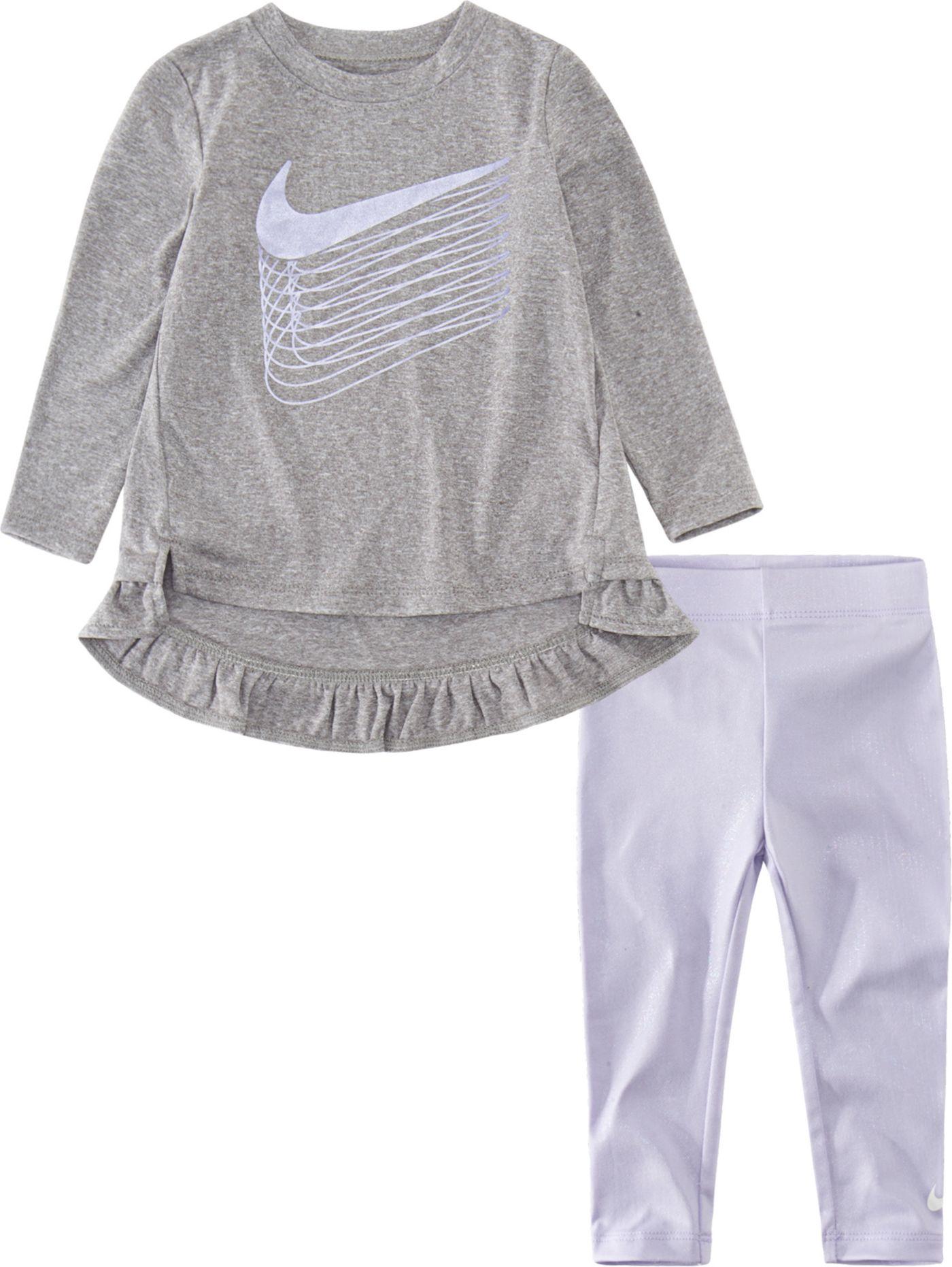 Nike Toddler Girls' Dri-FIT Metallic Long Sleeve Shirt and Leggings Set