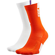 Nike Clemson Tigers Basketball Crew Socks 2 Pack