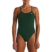 Nike Women's Solid Cut-Out Back One Piece Swimsuit