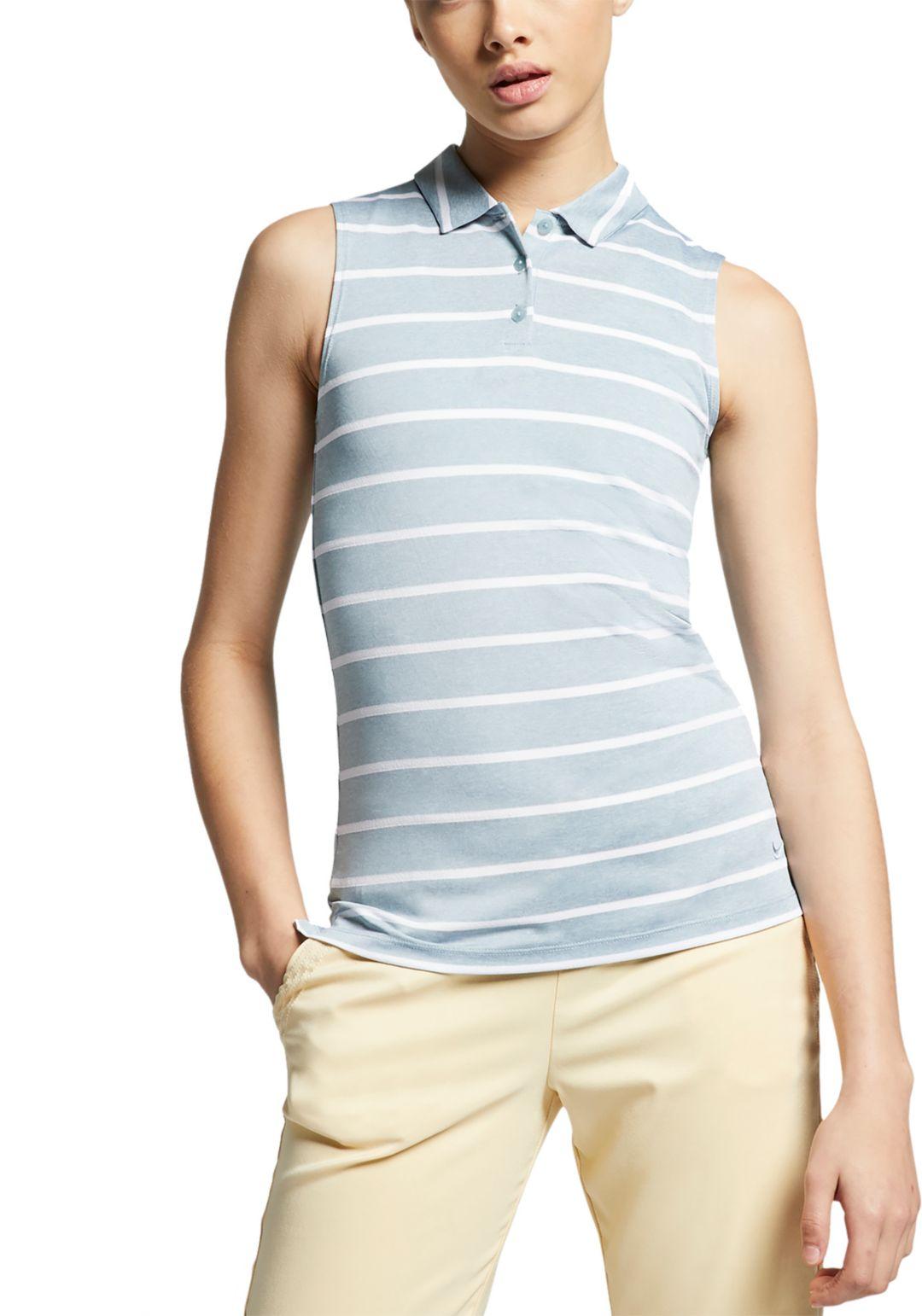 19f580ce Nike Women's Dri-FIT Striped Sleeveless Golf Polo | DICK'S Sporting ...