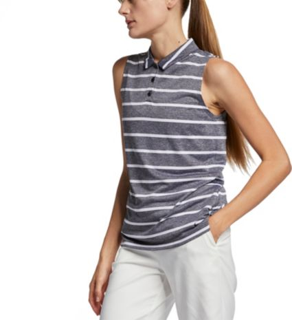 Nike Women's Dri-FIT Striped Sleeveless Golf Polo