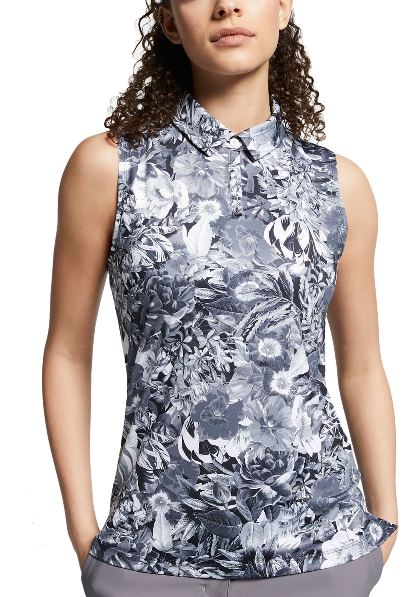 Nike Women's Dri-FIT Floral Printed Sleeveless Golf Polo