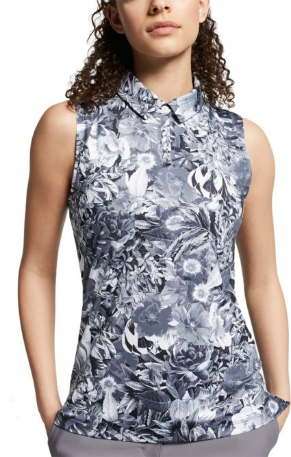 Nike Women's Dri-FIT Floral Printed Sleeveless Golf Polo