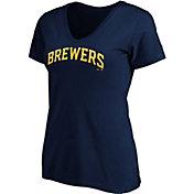 Majestic Women's Milwaukee Brewers Navy Wordmark V-Neck T-Shirt