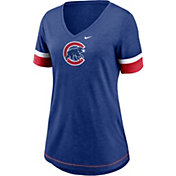 Nike Women's Chicago Cubs Blue Mesh Logo V-Neck T-Shirt