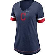Nike Women's Cleveland Indians Navy Mesh Logo V-Neck T-Shirt