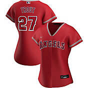 Nike Women's Replica Los Angeles Angels Mike Trout #27 Cool Base Red Jersey