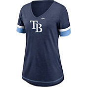 Nike Women's Tampa Bay Rays Navy Mesh Logo V-Neck T-Shirt