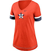 Nike Women's Houston Astros Orange Mesh Logo V-Neck T-Shirt