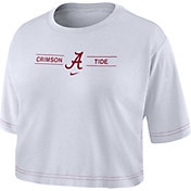 Nike Women's Alabama Crimson Tide Slub Cropped White T-Shirt