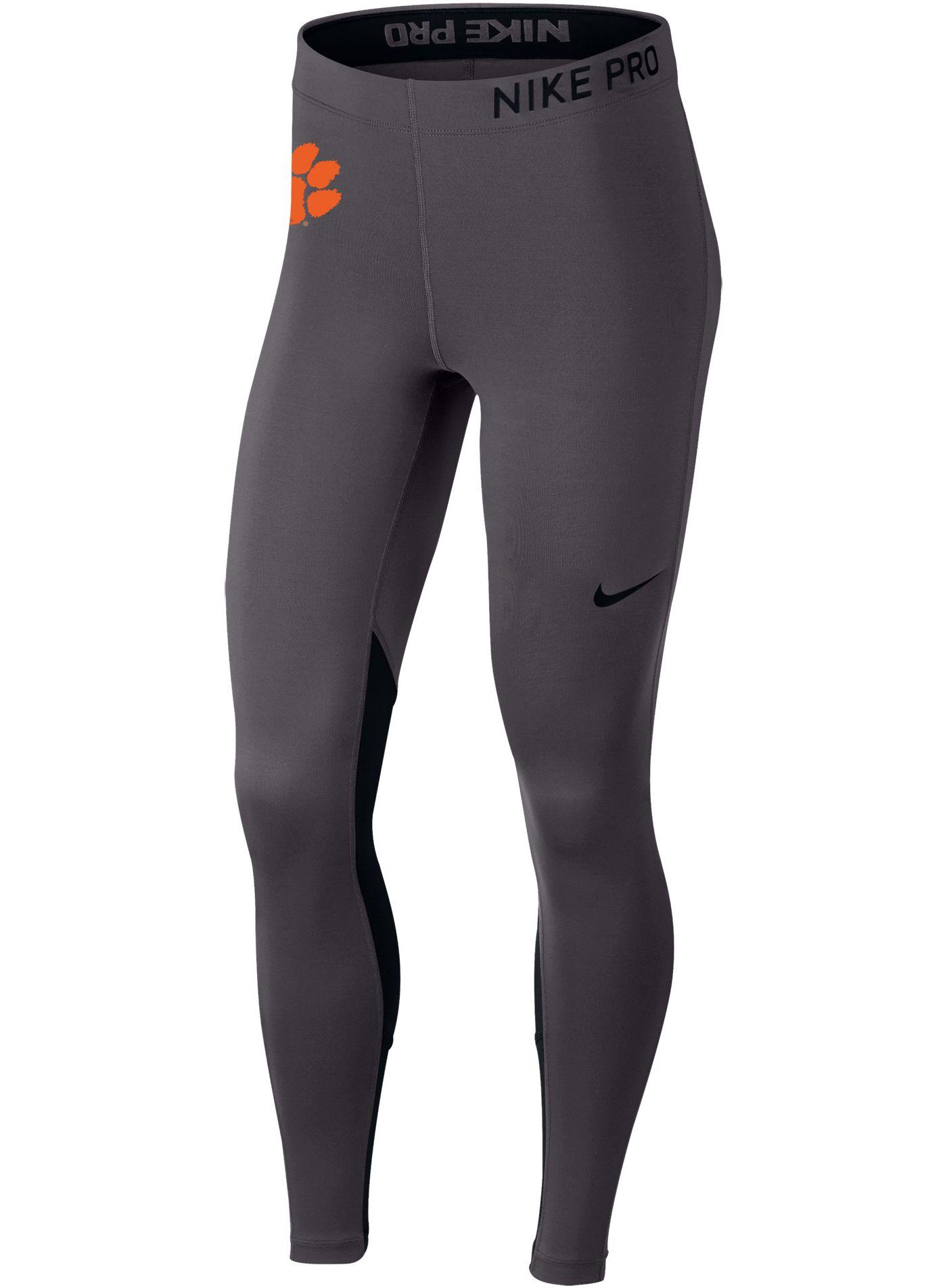 Nike Women's Clemson Tigers Grey Dri-FIT Pro Cool Training Leggings