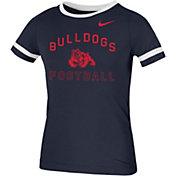 Nike Women's Fresno State Bulldogs Blue Slub Fan Ringer Football T-Shirt