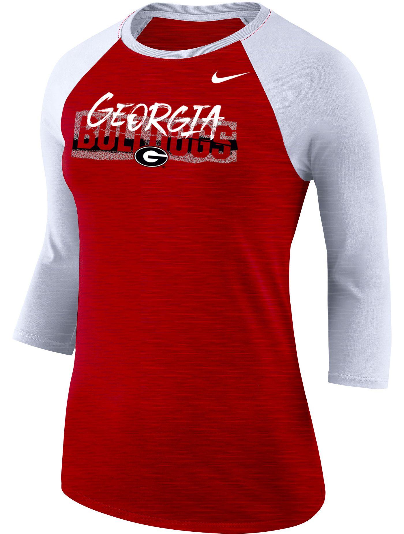 Nike Women's Georgia Bulldogs Red Dri-FIT ¾ Sleeve T-Shirt