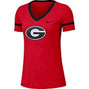 Nike Women's Georgia Bulldogs Red Slub V-Neck T-Shirt