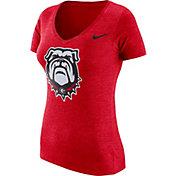 Nike Women's Georgia Bulldogs Red Tri-Blend Logo V-Neck T-Shirt