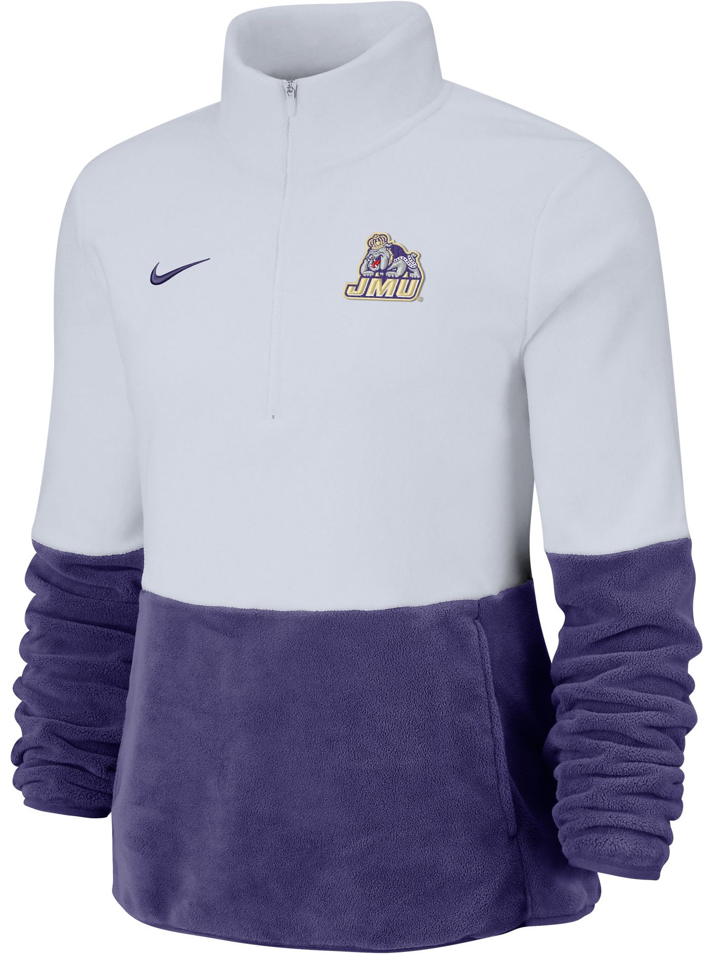 Nike Women's James Madison Dukes Cozy Therma White Half-Zip Fleece