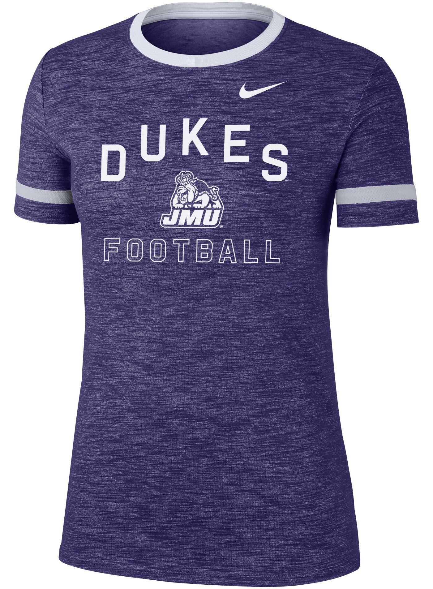 Nike Women's James Madison Dukes Purple Slub Fan Ringer Football T-Shirt